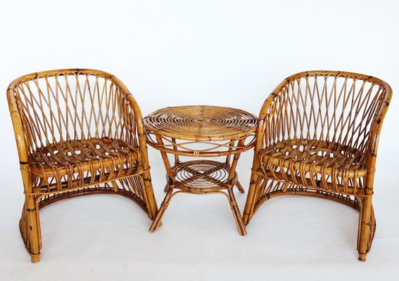 Set With 2 Italian Bamboo Chairs 1 Table By Vittorio Bonacina