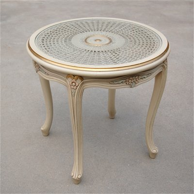 Enjoyable Vintage French Provincial Side Table With Cane Top Bralicious Painted Fabric Chair Ideas Braliciousco