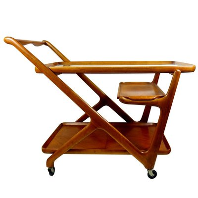 Mid Century Wooden Tea Trolley By Cesare Lacca For Cassina 1950s