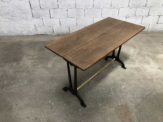 Antique French Oak Wrought Iron Dining Table