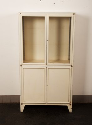 Mid Century Industrial Glass U0026 Iron Medical Cabinet From Kovona, 1950s