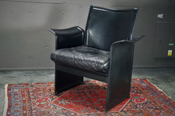 Miraculous Black Leather Korium Armchairs By Tito Agnoli For Mateo Grassi 1980S Set Of 2 Dailytribune Chair Design For Home Dailytribuneorg