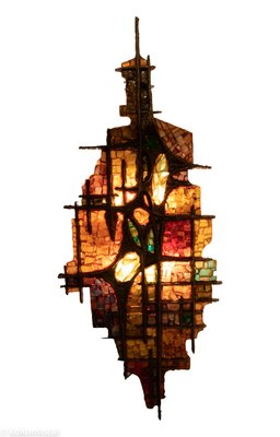 Brutalist Resin And Stained Glass Wall Light By Jules Dewaele For Pia Manu 1970s
