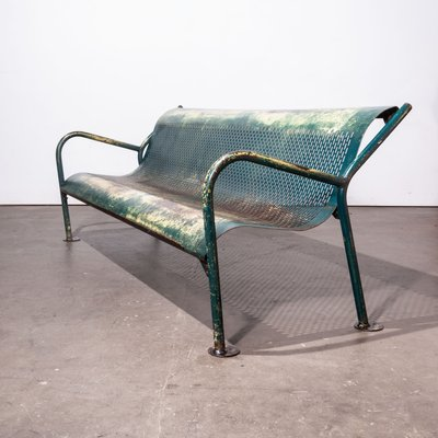 Awesome Mid Century Perforated Steel Garden Bench 1960S Ibusinesslaw Wood Chair Design Ideas Ibusinesslaworg