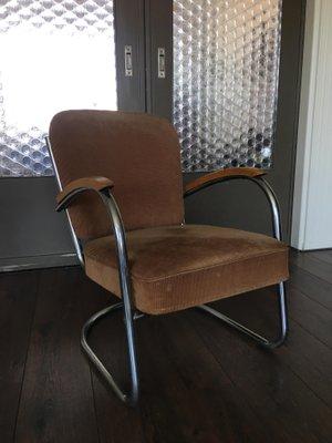 Merveilleux Fabric U0026 Tubular Steel Industrial Model 436 Lounge Chair By Paul Schuitema  For D3 Rotterdam, 1930s