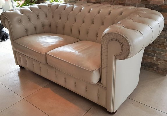 French White Leather Chesterfield Sofa, 1978