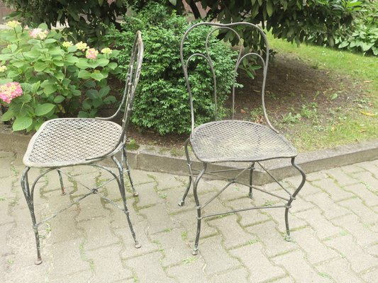 Miraculous Antique German Wrought Iron Garden Chairs Set Of 2 Download Free Architecture Designs Embacsunscenecom