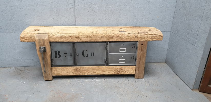 Super Industrial Iron Oak Pine Storage Bench 1950S Short Links Chair Design For Home Short Linksinfo