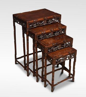 Beau Antique Chinese Rosewood U0026 Bamboo Nesting Tables