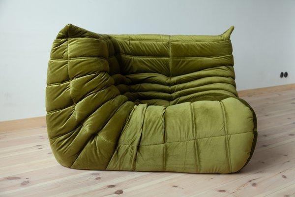Green Velvet Togo Corner Sofa by Michel Ducaroy for Ligne Roset, 1970s
