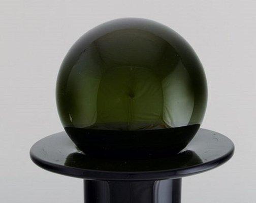 Große Grüne Mid Century Flasche Von Otto Brauer Für Holmegaard 1950er