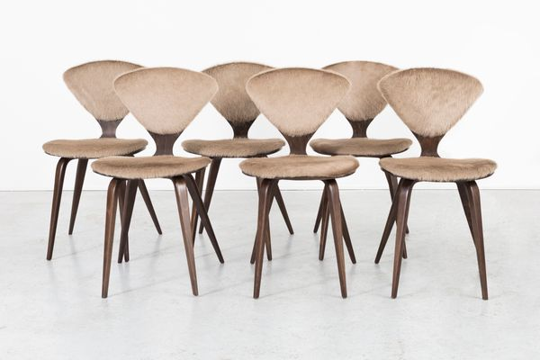 Wood And Cow Leather Dining Chairs By