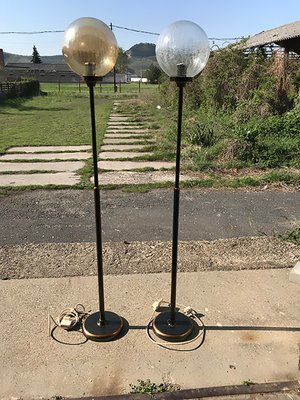 Art Deco Style Floor Lamps With Round Glass Shades 1940s Set Of 2