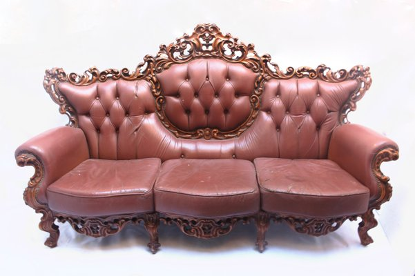 Baroque Style Leather & Wood Sofa from Mariano García, 1960s