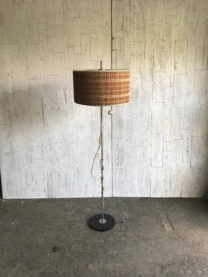 Mid Century Floor Lamp With Wooden Shade 1950s