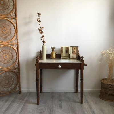 pretty nice cee8f 43dff Antique Wood & Marble Dressing Table