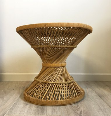 Mid Century Glass And Rattan Coffee Table, 1960s