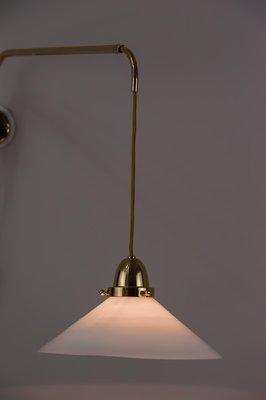 Lampada da parete Art Déco allungabile in ottone, anni '20