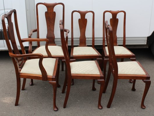 Tremendous Vintage Queen Anne Style Mahogany Dining Chairs 1920S Set Of 6 Download Free Architecture Designs Scobabritishbridgeorg