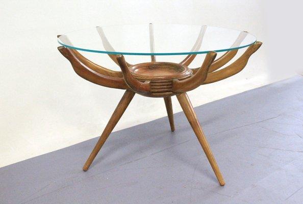 Table Basse En Verre Et Bois Par Carlo De Carli Italie 1950s