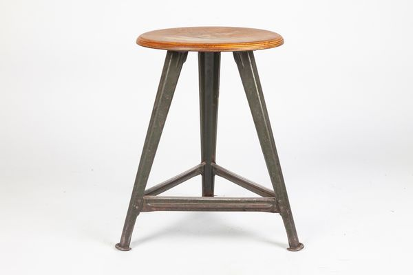 Prime Vintage Industrial German Metal And Plywood Stool By Robert Wagner For Rowac Caraccident5 Cool Chair Designs And Ideas Caraccident5Info