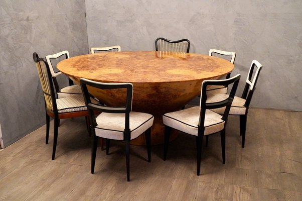 Round Mid-Century Olive Burl Wood Dining Table, 1920s