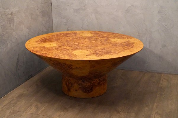 Round Mid Century Olive Burl Wood Dining Table 1920s