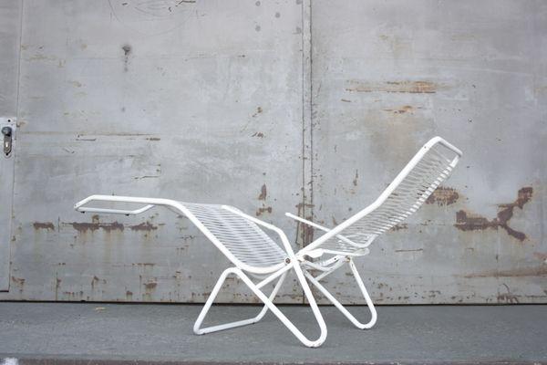 Et En Longue Jardin Plastique Blanche1960s Chaise Acier De Tubulaire rdCBoeQWx