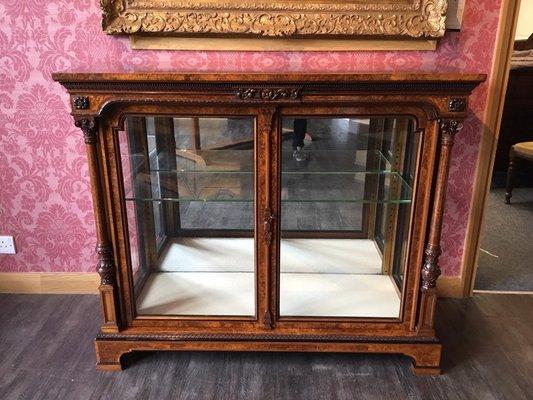 Antique Victorian Burr Walnut Two Door Display Cabinet From Holland U0026 Sons
