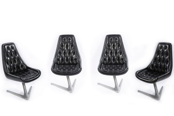 Peachy Leather And Steel Swivel Chairs From Chromcraft 1966 Set Of 4 Cjindustries Chair Design For Home Cjindustriesco