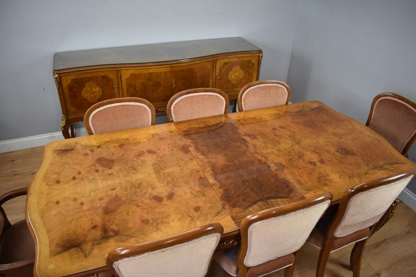 Vintage Walnut Dining Table Chairs Suite By Harry Lou Epstein For Epstein 1950s For Sale At Pamono