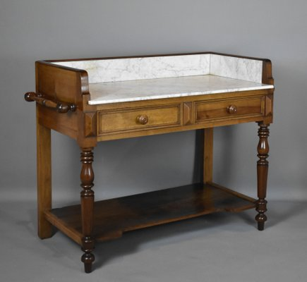 Antique French Oak And Marble Washstand