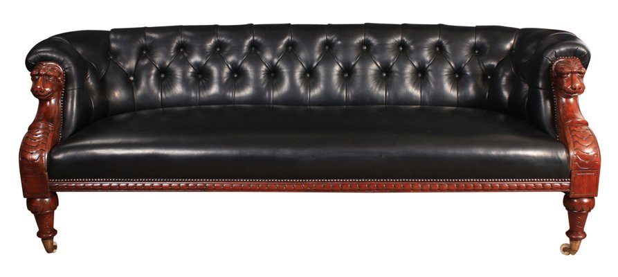 Victorian Black Leather & Mahogany Chesterfield Sofa, 1870s