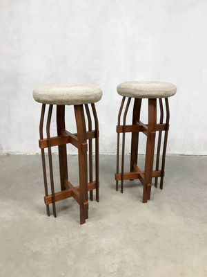 Amazing Brutalist Wood And Wool Bar Stools 1980S Set Of 2 Pdpeps Interior Chair Design Pdpepsorg