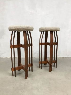 Miraculous Brutalist Wood And Wool Bar Stools 1980S Set Of 2 Pdpeps Interior Chair Design Pdpepsorg