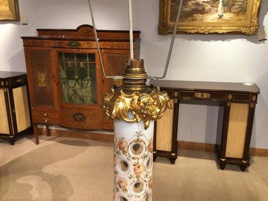 Verre Antique Victorienne En Doré Et Bohême Lampe KJc3F1Tl