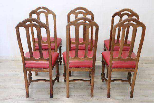 Antike Stühle aus Nussholz, 1880er, 6er Set