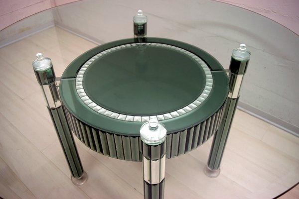 Tremendous Round Italian Modern Crystal And Mirrored Glass Dining Table By Zelino Poccioni For Mp 2 1980S Home Remodeling Inspirations Basidirectenergyitoicom