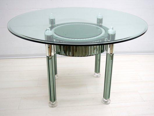 Tavolo da pranzo rotondo moderno in cristallo e vetro specchiato di Zelino  Poccioni per MP-2, Italia, anni \'80