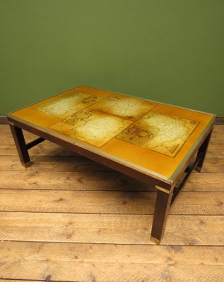 Strange Vintage Brass And Wood Map Coffee Table 1970S Home Remodeling Inspirations Propsscottssportslandcom