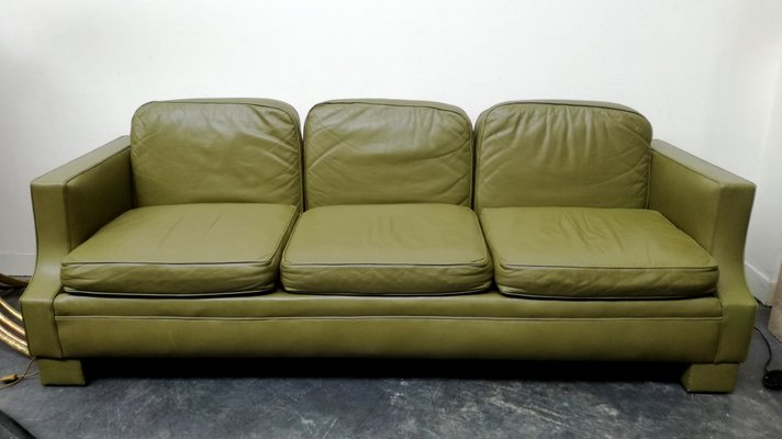 Vintage French Olive Green Leather Sofa, 1970s