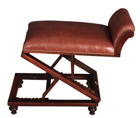 Antique Adjustable Leather U0026 Mahogany Footstool, 1850s