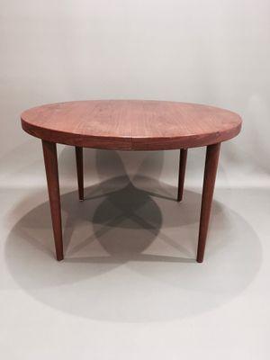Tavolo da pranzo rotondo moderno in teak, Scandinavia, anni \'50