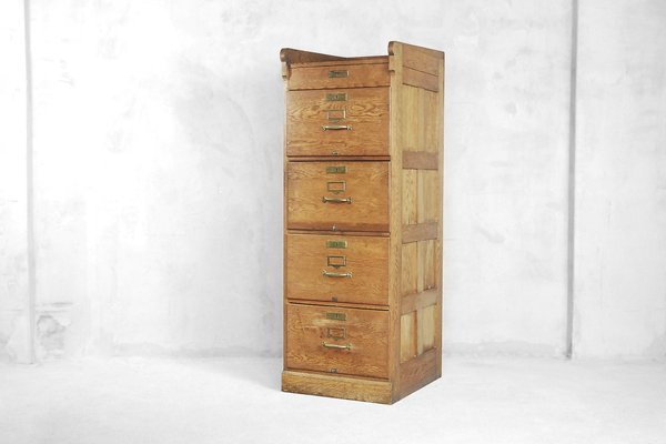 Industrial Oak Filing Cabinet 1920s For Sale At Pamono
