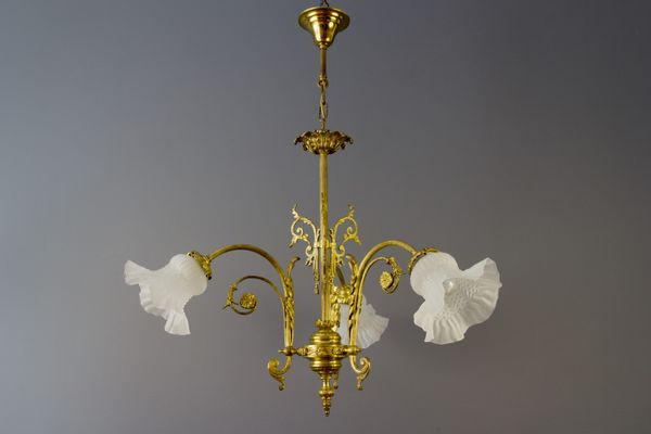 Antique Style French Bronze & Frosted Glass Chandelier, 1920s