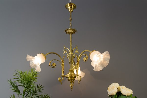 Antique Style French Bronze Frosted, Gas Light Style Chandelier