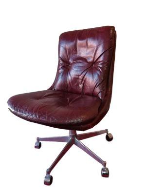 Sedia Girevole Metallo.Sedia Girevole In Pelle E Metallo Cromato Di Andre Vandenbeuck Per Strassle Anni 60