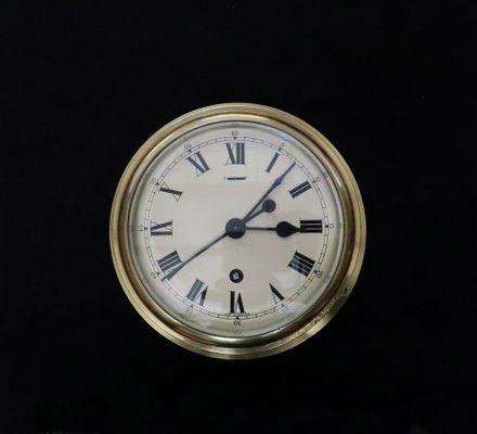 Mid-Century Industrial English Brass Ship Clock from F W  Elliott, 1952