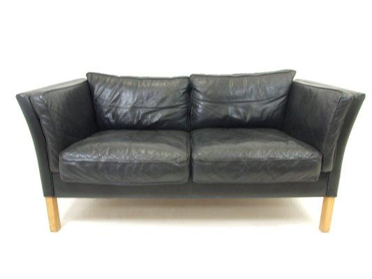 Fantastic Danish Black Leather 2 Seat Sofa 1950S Machost Co Dining Chair Design Ideas Machostcouk