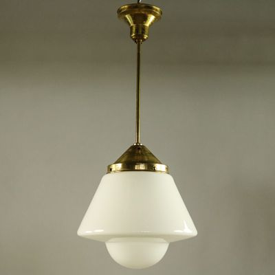 Deutsche Art Deco Deckenlampe aus Messing & Milchglas von Dr. Twerdy ...